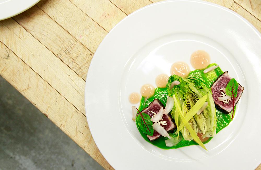 Charred baby gem salad appetizer for plated dinner