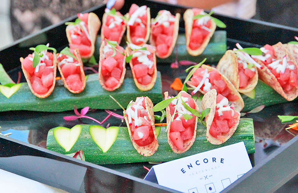Ahi tuna taco served as passed hors d'oeuvres at a party