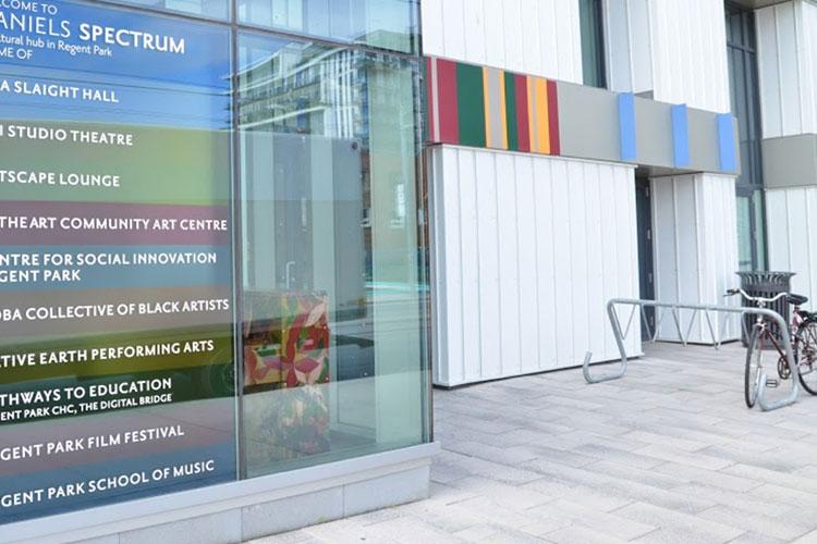 Building and signage for Artscape Daniels Spectrum venue