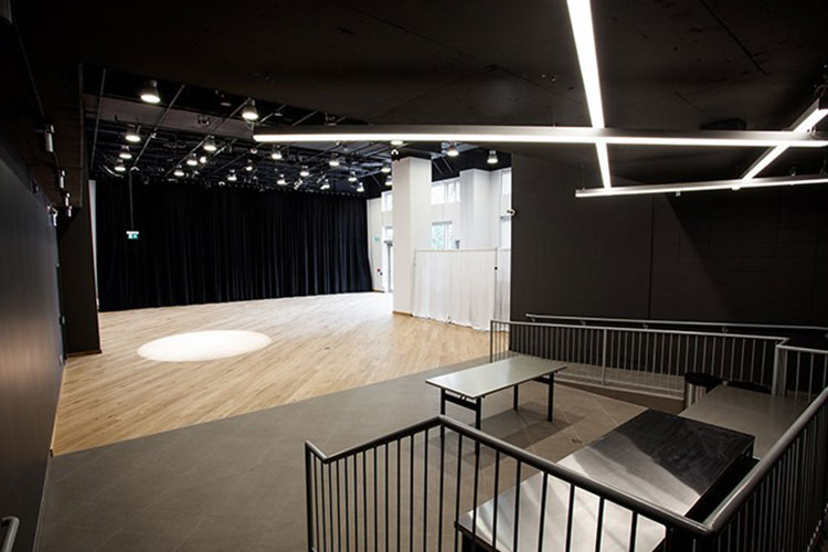 View of interior at Artscape Sandbox event rental space in Toronto