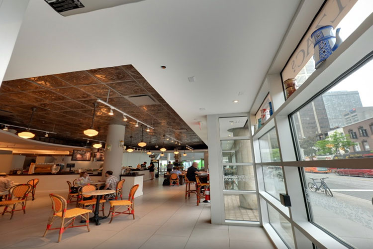 Inside view of Balzacs Cafe venue space in Toronto