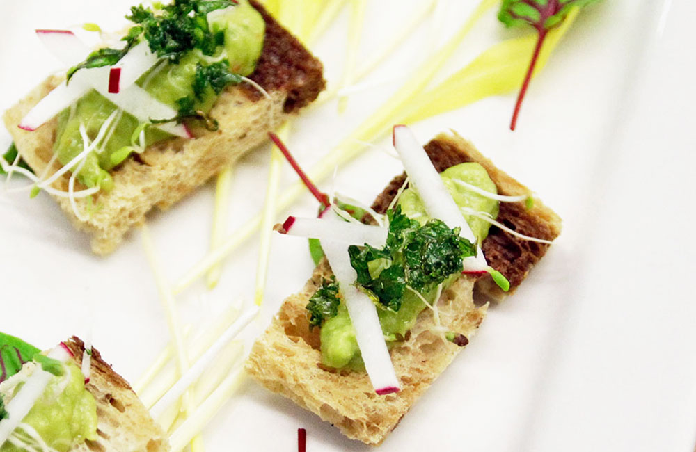 Close up picture of hors d'oeuvre for corporate office catering
