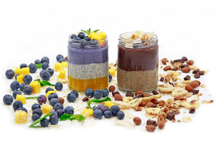 Chunky Monkey and Triple Berry Blast chia puddings for corporate breakfast catering