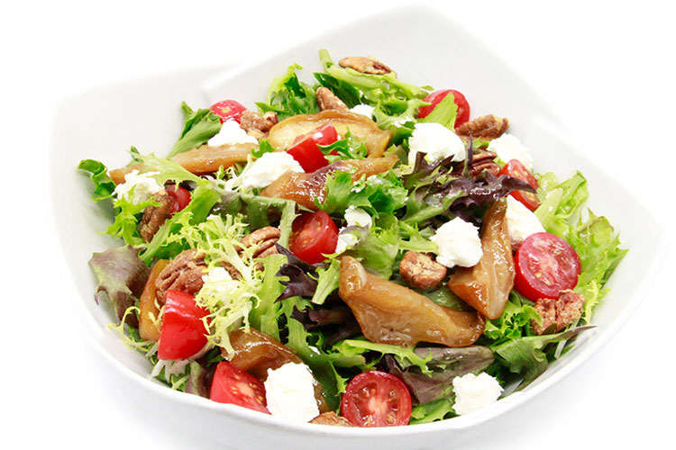 Grilled pear salad with candied pecans and chevre