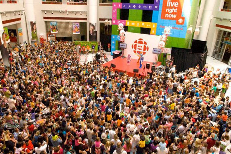 Lots of people celebrating an event at CBC Atrium event venue