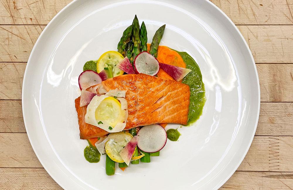 Salmon entree for COVID friendly wedding menu