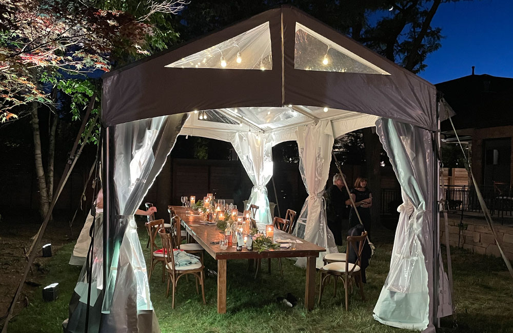 Tent setup at outdoor venue for COVID friendly wedding in Toronto
