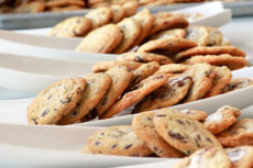 Stack of homemade chocolate chip cookies from Encore Catering