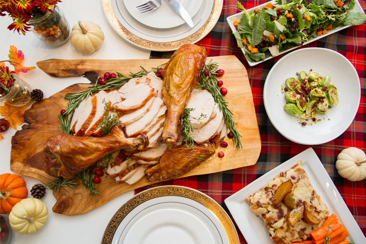 Turkey dinner with side dishes during the holidays