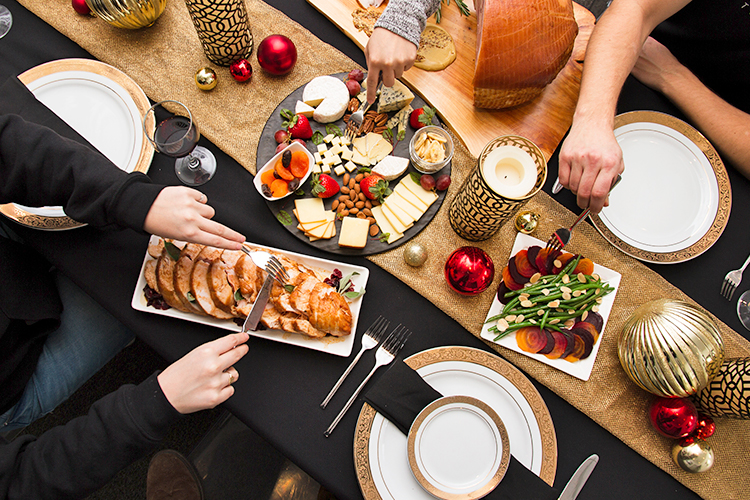 Family style dinner during the holidays with catering menu