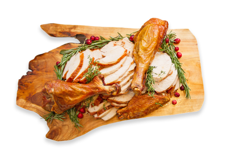 Turkey breat and leg on wood platter holiday catering menu thumbnail