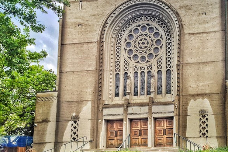 Holy blossom temple exterior of building close up
