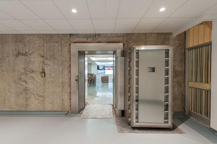 Front entrance vault door to The Vault event venue space