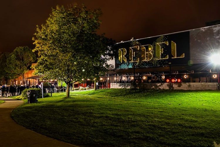 Outside exterior view of Rebel venue building in Toronto