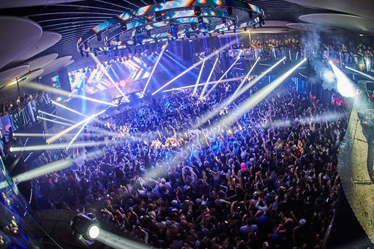 Big party with strobe lights at Rebel Nightclub event venue space