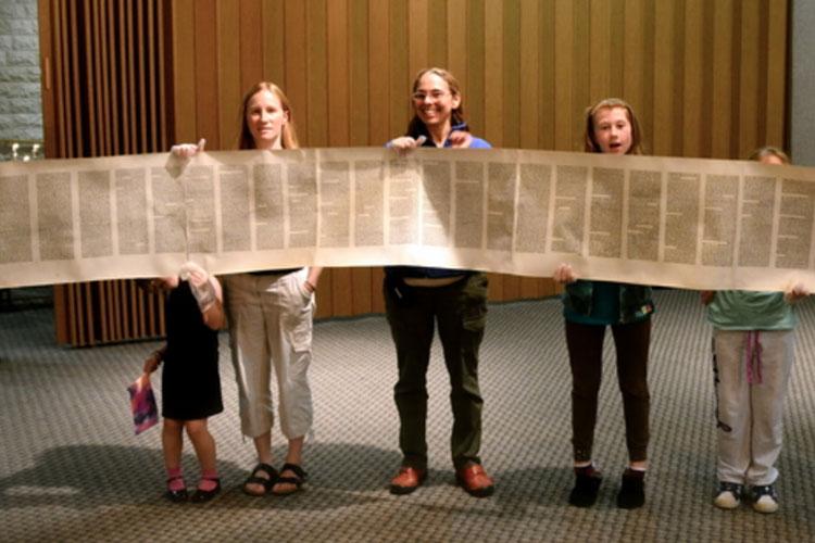 Children holding Torah scripture at Solel Congregation