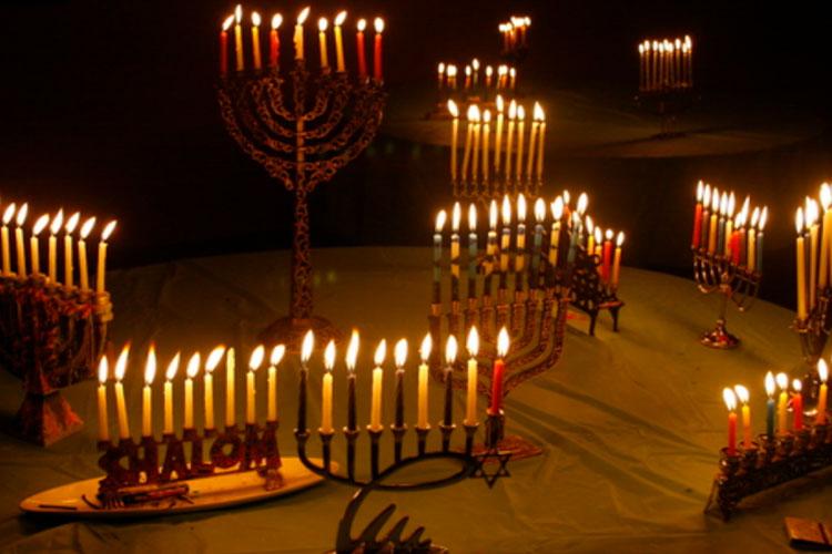 Hannukah menorahs candle lit