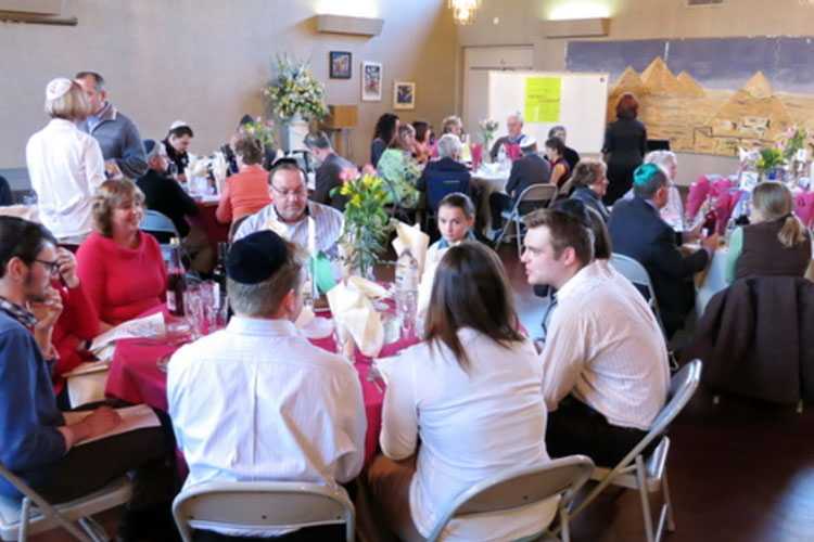 Group of people sitting in a circle at Solel Congregation