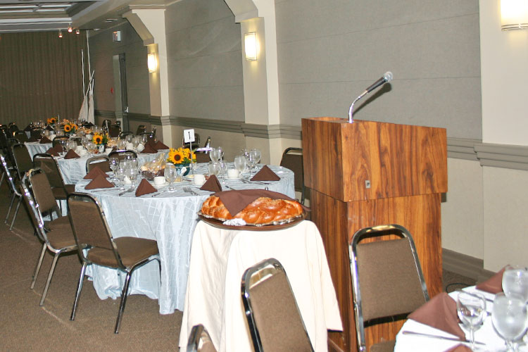 Podium and challah for service at Temple Har Zion