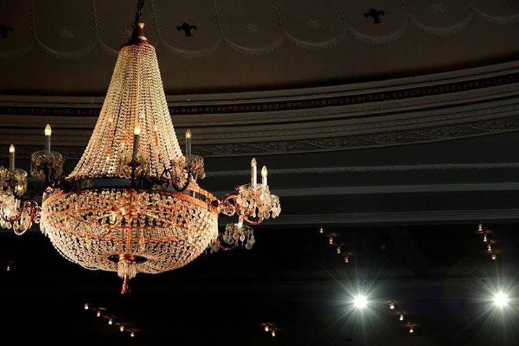 Chandelier hanging from The MET event space