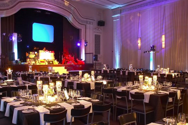 Table and chairs setup for large event at The MET event venue