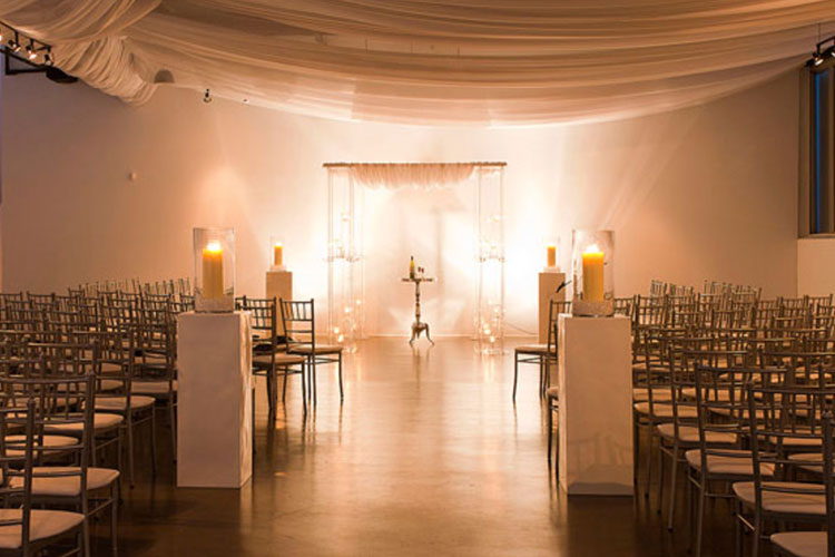 Room setup at The Warehouse event space before wedding ceremony begins