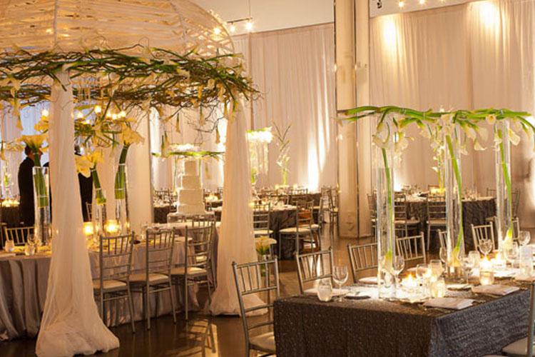 Fancy decor setup for wedding celebration at The Warehouse event venue