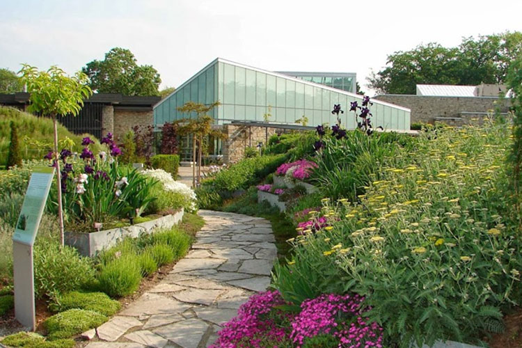 Pathway leading to main building at Toronto Botanical Gardens event venue