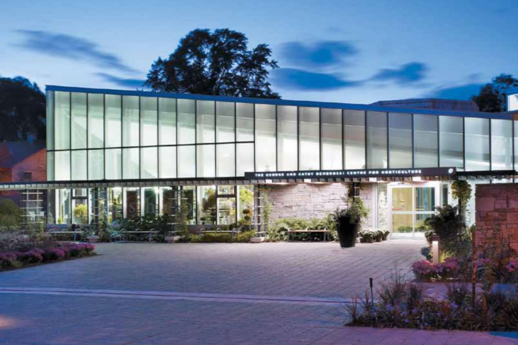 View of the building at Toronto Botanical Gardens at night