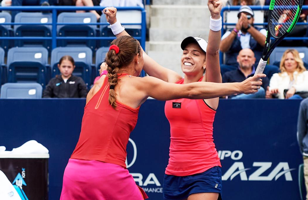 Sharon Fichman Celebrating On Tennis Court with Partner