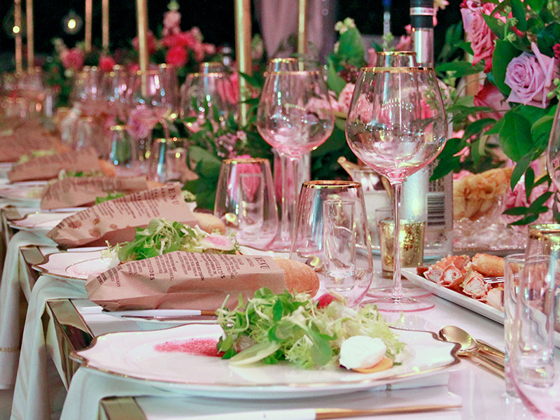 Salad and bread at a wedding table from a wedding caterer